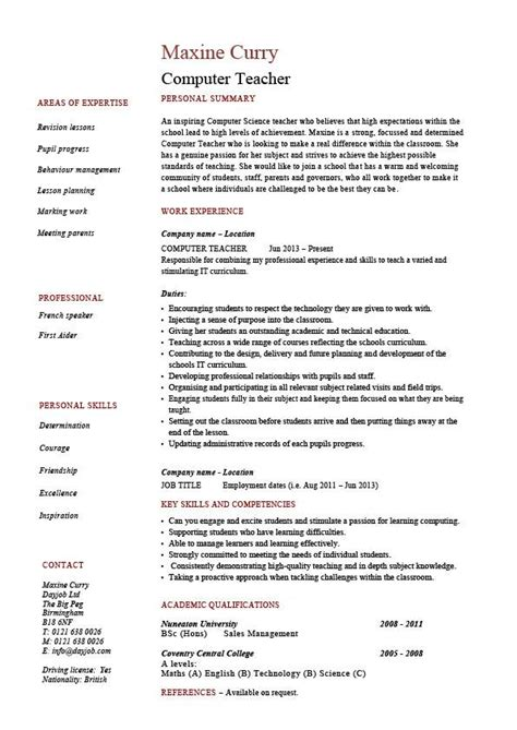 computer resume exle sle it teaching skills classroom school work