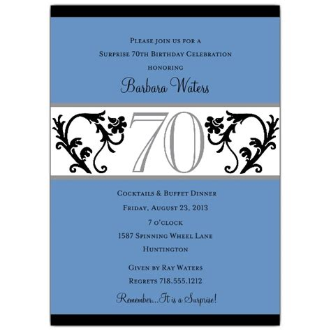Elegant Vine Blue 70th Birthday Invitations Paperstyle 70th Birthday Invitation Templates
