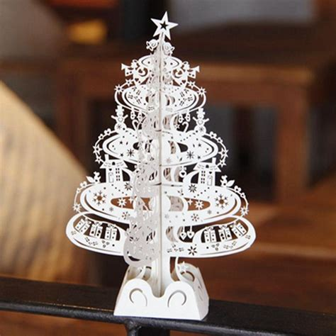 pcs christmas tree gifts  laser cut pop  cards decoration greeting card display merry