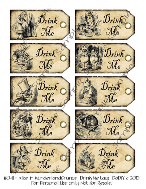 printable drink tags drink me alice in wonderland wedding favor tags party