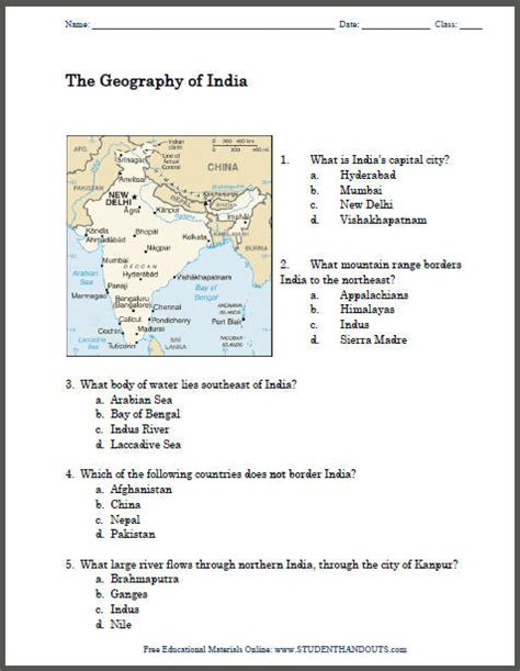 Free Geography Worksheets by Printable Geography Worksheets
