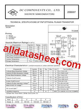 transistor b507 2sb507 데이터시트 pdf dc components