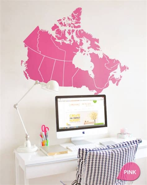 home decor canada online shopping pink canada map decal wall sticker