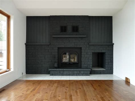 remodelaholic gray painted fireplace focal wall