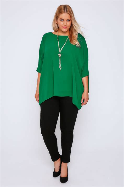 Chiffon Top green batwing sleeve chiffon top with necklace plus size