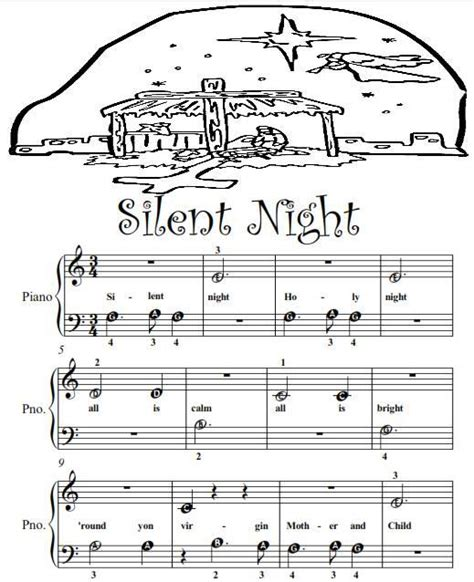 Silent Night Beginner Tots Piano Sheet Music PDF   Ad
