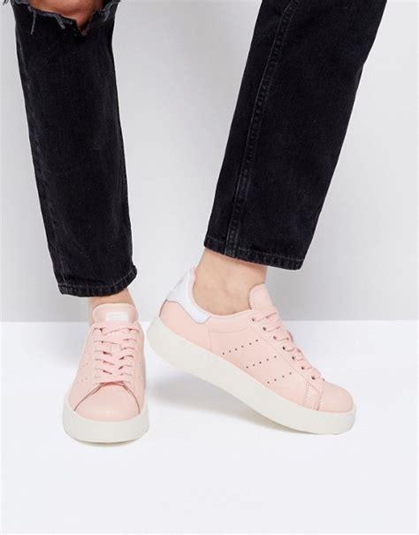 adidas originals pale pink stan smith bold sole sneaker asos