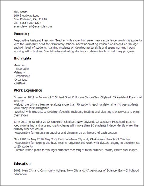 Preschool Assistant Sle Resume by Professional Assistant Preschool Templates To Showcase Your Talent Myperfectresume