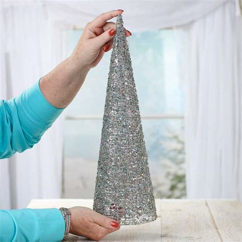 silver sparkling mesh beaded cone tree silver sparkling mesh beaded cone tree trees and toppers and winter crafts