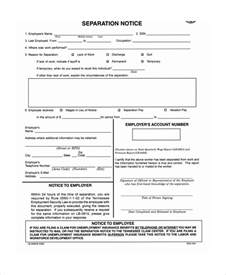 Separation Notice Template by Sle Separation Notice Template 8 Free Documents