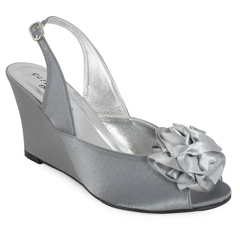 womens silver bridal prom wedge shoes 3 8 ebay