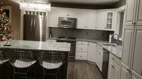 granite countertop with white cabinets houzz viscont white granite modern kitchen newark by