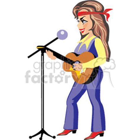 royalty free a in and boots a guitar and singing into a microphone