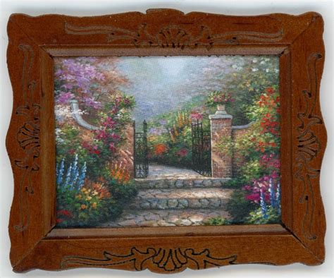 printable dollhouse wall art dollhouse miniature framed art quot garden gate quot print ebay