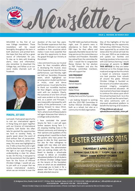 College Newsletter Hillcrest Christian College Newsletter 30 March 2015 By Hillcrest Christian College Issuu