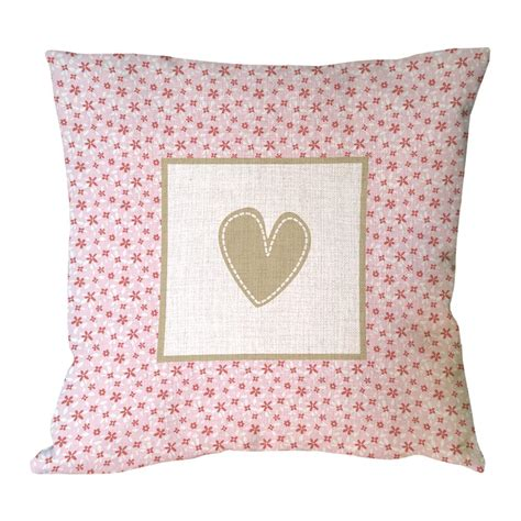 pink patterned cushions brown heart shape printed pink flora decorative pillow