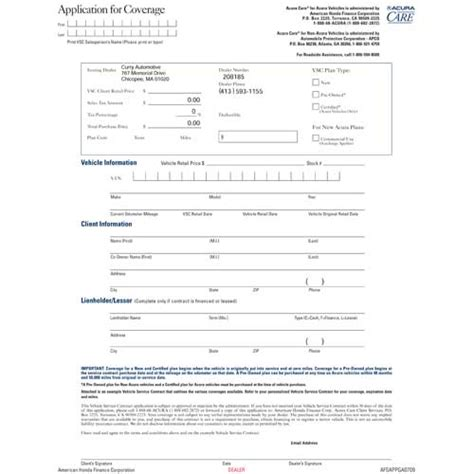 acura care application brochures contract