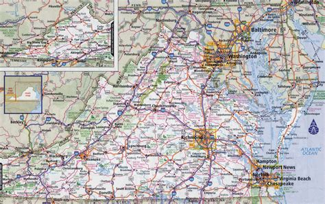map of virginia cities large detailed roads and highways map of virginia state with national parks and all cities