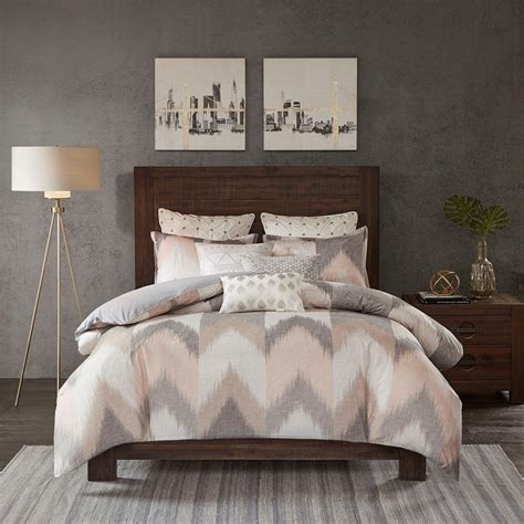 fuzzy comforter set casual modern urban fuzzy chevron stripe blush taupe grey