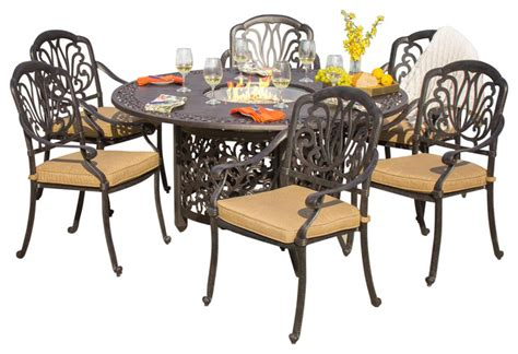 Outdoor Dining Set Pit Rosedown Cast Aluminum 7 Dining Set With Pit