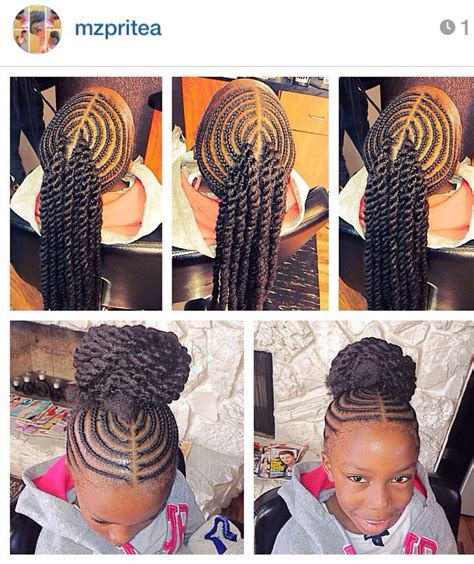 9 year old little girl hair braided witb weave corn rowed hair with extension twists into a bun kiddie