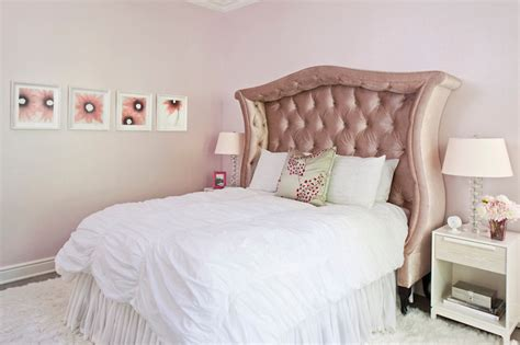 pink velvet headboard transitional girl s room smith