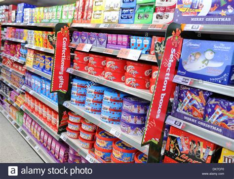 supermarket interior showing chocolate selection boxes stock photo royalty free image