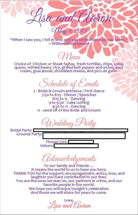 wedding reception program templates free program menu with template available weddingbee photo