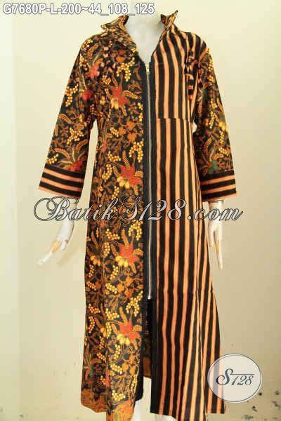 Harga Baju Gamis Wanita model baju batik wanita berjilbab resleting depan gamis batik elegan mewah harga