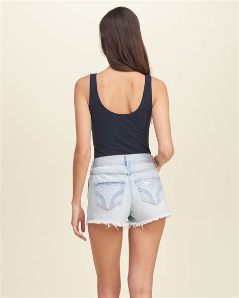 Slim Lace Tank Germanium hollister slim lace panel tank in blue lyst