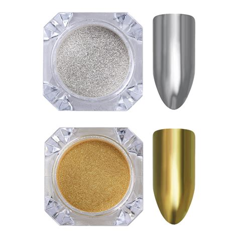Gold Mirror Chrome Powder Nail Kuku Chrome Metal Korea Nail 1 99 1g box mirror powder gold silver pigment nail