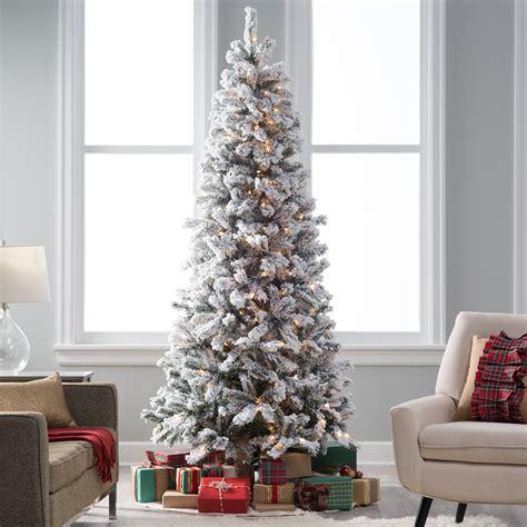 classic flocked slim pre lit christmas tree christmas