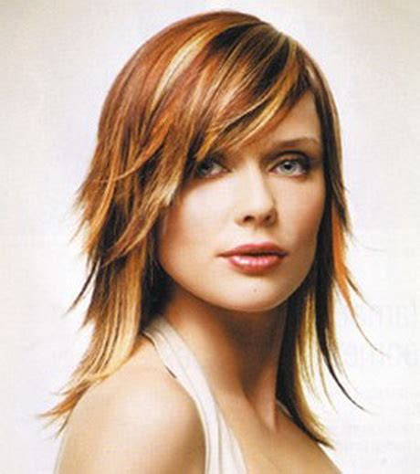 medium haircuts with bangs and chunky color layered medium hairstyles with bangs