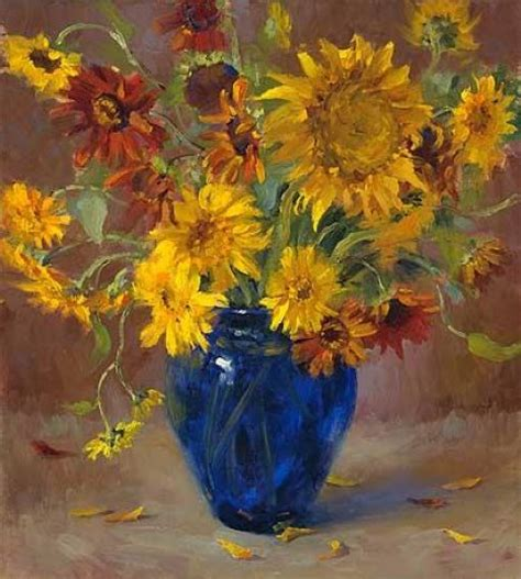 Cheap Artwork Canvas by Original Paintings A Bunch Of Chrysanthemum In A Blue Vase