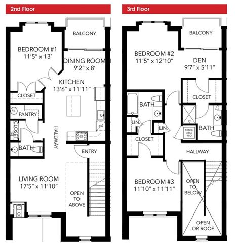 Town House Plan by Oakbourne Floor Plan 3 Bedroom 2 Story Leed Certified