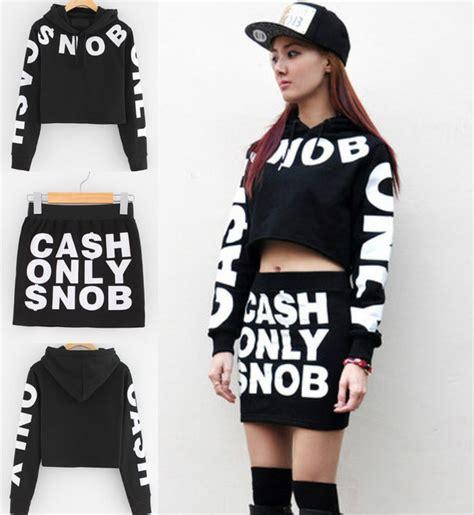 Sweater Crop Swag Sweater Crop Baru Murah sweater skirt snob style cool black printed sweater