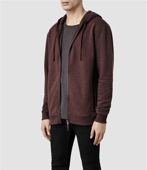 Longline Shirt Fregie Bandana Zipper Maroon lyst allsaints javert hoody in purple for