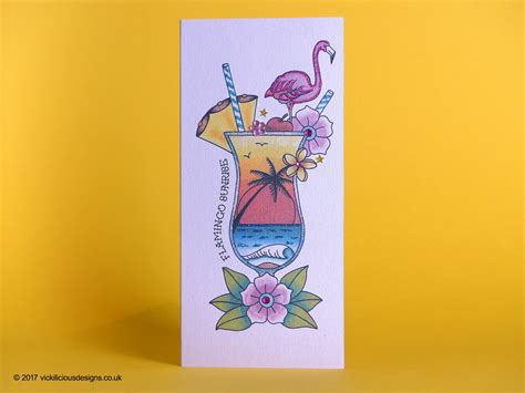 cocktail tattoo designs handmade birthday card flamingo cocktail