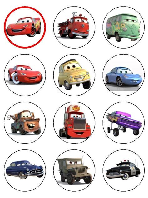 disney cars printable birthday decorations 24 cars lightning mcqueen icing edible cupcake toppers