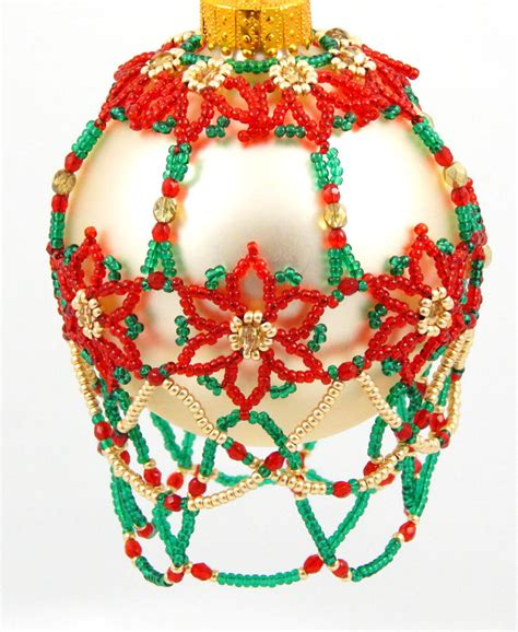 free beaded ornament cover patterns poinsettia garden beaded ornament cover pattern