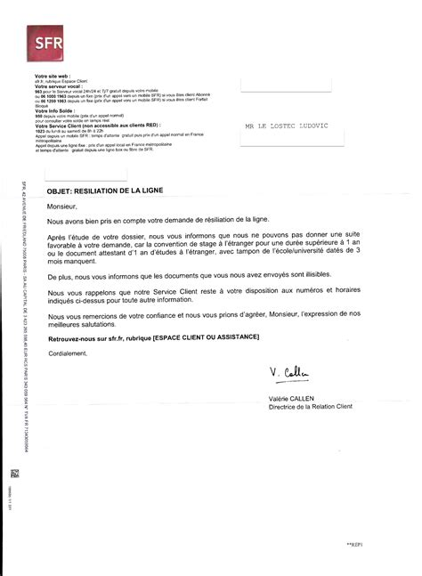 modele lettre resiliation sfr adsl document