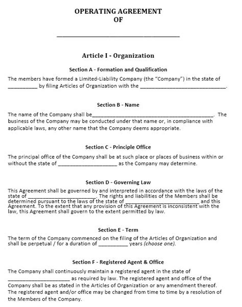 free operating agreement template 13 free sle operating agreement templates printable
