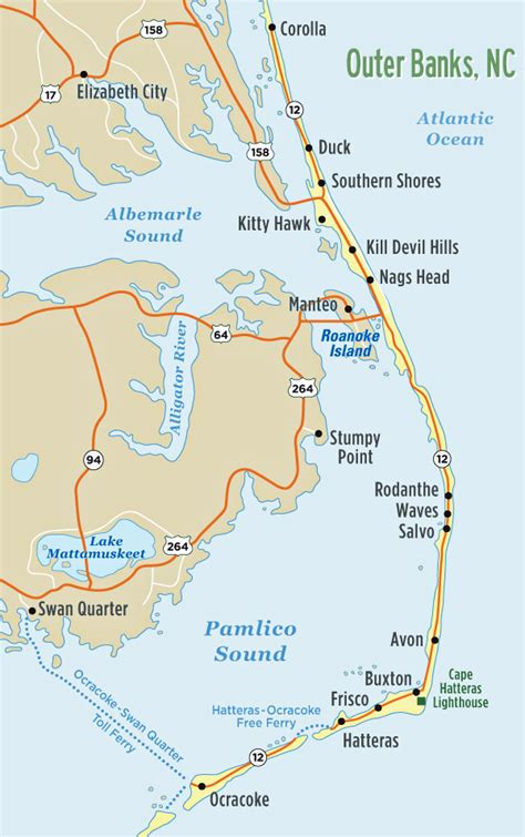 map of outer banks nc casual lodging for the family the outer banks waves amotherworld