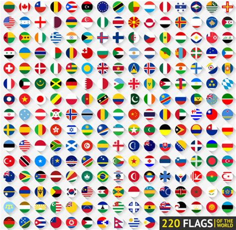 flags of the world round world flags round icons vector material free download