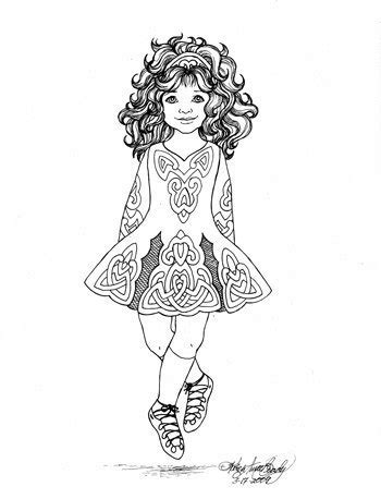 irish girl coloring page items similar to irish step dancer coloring page by karen
