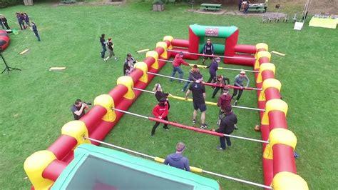 inflatable human foosball game rental california youtube