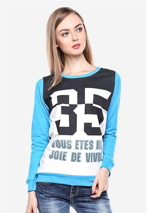 On Sale Kaos Lengan Panjang Cowok Sweater Black Patch regular fit kaos wanita putih biru lengan panjang