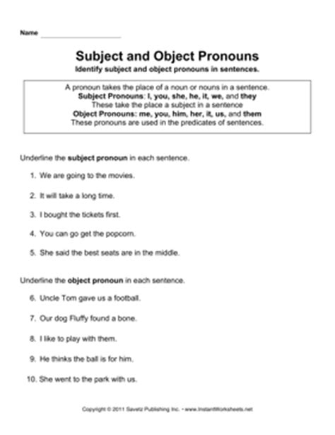 Subject And Object Pronouns Worksheets by Subject And Object Pronouns Worksheets