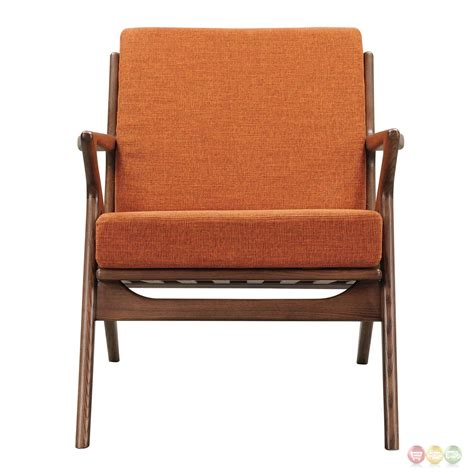 wooden chair frames for upholstery zain mid century modern orange fabric chair with wooden