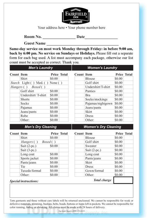 courtyard marriott receipt template fairfield inn laundry list fairfield inn valet list